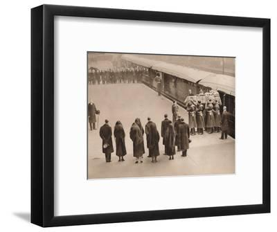 'Watching the coffin, covered by the Royal Standard', 1936-Unknown-Framed Photographic Print