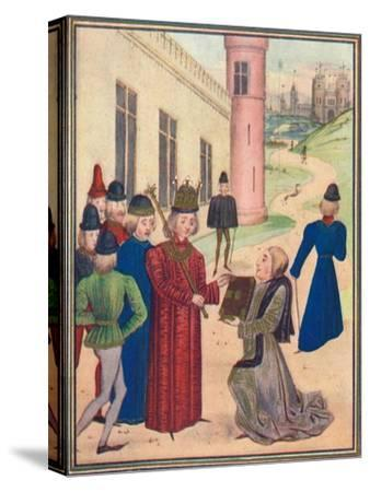 Froissart presenting his book of love poems to Richard II in 1395, 1905-Unknown-Stretched Canvas Print