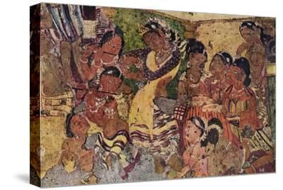 'Wall painting from the Caves of Ajanta', c480-Unknown-Stretched Canvas Print