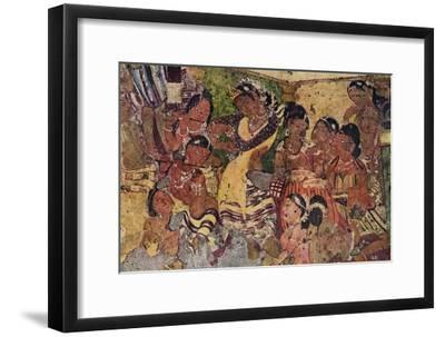 'Wall painting from the Caves of Ajanta', c480-Unknown-Framed Giclee Print