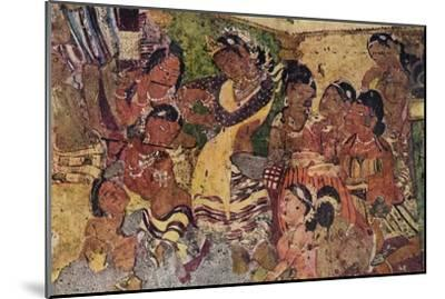 'Wall painting from the Caves of Ajanta', c480-Unknown-Mounted Giclee Print