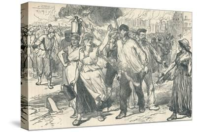 Rioters and petroleuses firing public buildings in Paris during the Paris Commune, 1871-Unknown-Stretched Canvas Print