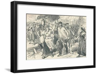 Rioters and petroleuses firing public buildings in Paris during the Paris Commune, 1871-Unknown-Framed Giclee Print