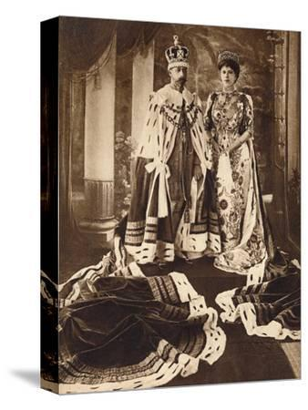 King George V and Queen Mary crowned and robed for the Delhi Durbar, 1911 (1935)-Unknown-Stretched Canvas Print