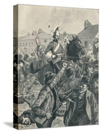 Dragoons and Highlanders scattering  rioters in Belfast, 1872 (1906)-Unknown-Stretched Canvas Print