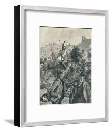 Dragoons and Highlanders scattering  rioters in Belfast, 1872 (1906)-Unknown-Framed Giclee Print