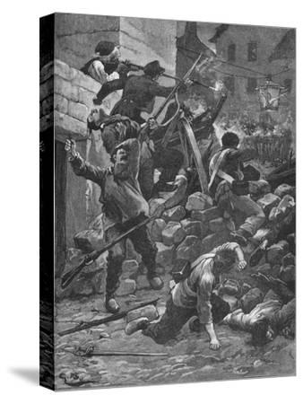 Fighting at the barricades in Paris, 1848 (1906)-Unknown-Stretched Canvas Print