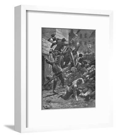 Fighting at the barricades in Paris, 1848 (1906)-Unknown-Framed Giclee Print