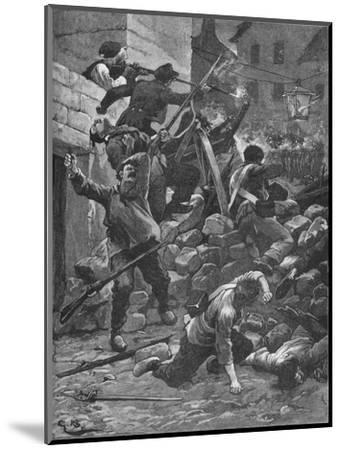 Fighting at the barricades in Paris, 1848 (1906)-Unknown-Mounted Giclee Print