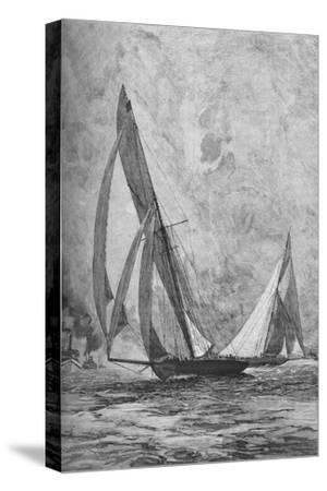 The 'Shamrock' and the 'Columbia' racing for the America's Cup, 1899 (1906)-Unknown-Stretched Canvas Print