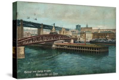 Railway and Swing Bridges, Newcastle-upon-Tyne, c1905-Unknown-Stretched Canvas Print
