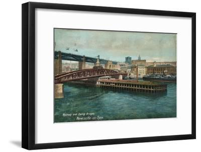 Railway and Swing Bridges, Newcastle-upon-Tyne, c1905-Unknown-Framed Giclee Print
