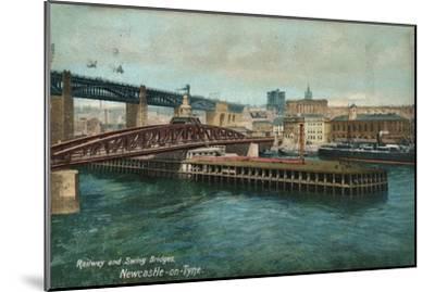 Railway and Swing Bridges, Newcastle-upon-Tyne, c1905-Unknown-Mounted Giclee Print