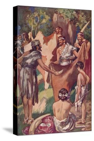 The beginnings of commerce: primitive people bartering ivory tusks and bull hides, 1907-Unknown-Stretched Canvas Print