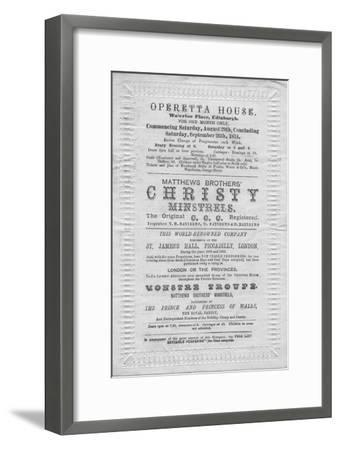 A programme of events to be stage at the Operetta House, Waterloo Place, Edinburgh', 1874-Unknown-Framed Giclee Print