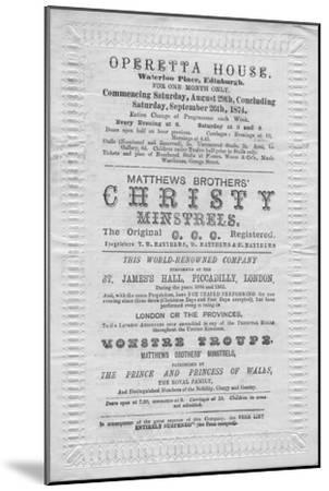 A programme of events to be stage at the Operetta House, Waterloo Place, Edinburgh', 1874-Unknown-Mounted Giclee Print