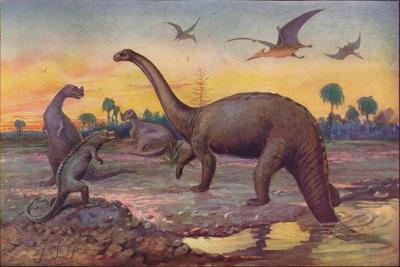 In the Saurian Age, when the World's inhabitants were gigantic peptiles, 1907-Unknown-Framed Giclee Print
