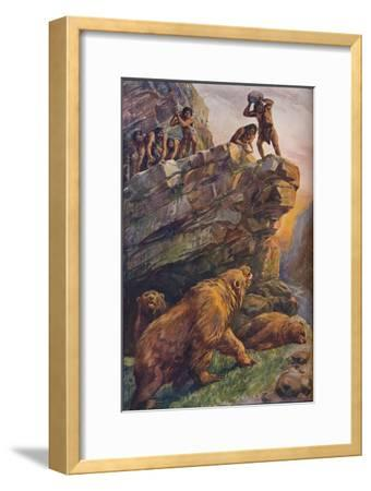 Prehistoric men attacking great cave bears, 1907-Unknown-Framed Giclee Print