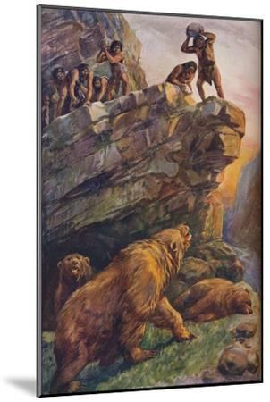 Prehistoric men attacking great cave bears, 1907-Unknown-Mounted Giclee Print