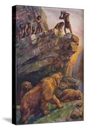 Prehistoric men attacking great cave bears, 1907-Unknown-Stretched Canvas Print