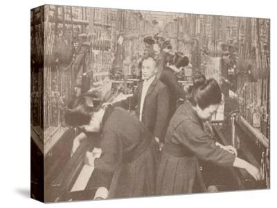 The busy interior of a flourishing silk factory in Japan, 1907-Unknown-Stretched Canvas Print