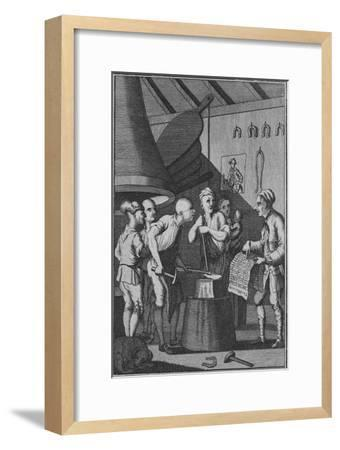 'The Blacksmith lets his Iron grow cold attending to the Taylor's News', 1772-Unknown-Framed Giclee Print