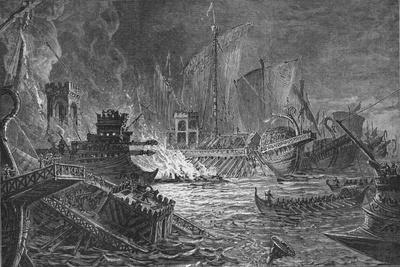 The Battle of Actium, at which Augustus defeated Antony and Cleopatra, 31 BC-Unknown-Framed Giclee Print