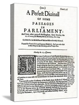 Front page of A Perfect Diurnall of Some Passages in Parliament, 1643 (1905)-Unknown-Stretched Canvas Print