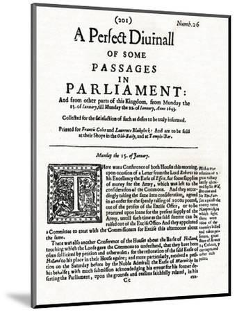 Front page of A Perfect Diurnall of Some Passages in Parliament, 1643 (1905)-Unknown-Mounted Giclee Print