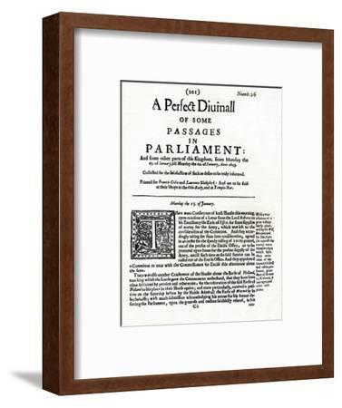 Front page of A Perfect Diurnall of Some Passages in Parliament, 1643 (1905)-Unknown-Framed Giclee Print
