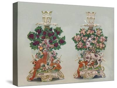 'A Pair of Chelsea Candlesticks', c18th century-Unknown-Stretched Canvas Print