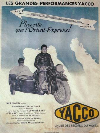 Advertisement for Yacco motor oil, 1936-Unknown-Framed Giclee Print