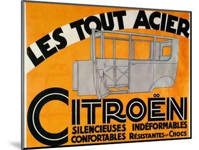 Advertisement for all-steel Citroen cars, c1924-Unknown-Mounted Giclee Print