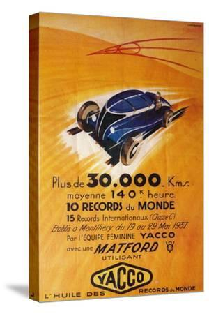 Advertisement for Yacco motor oil, c1937-Unknown-Stretched Canvas Print