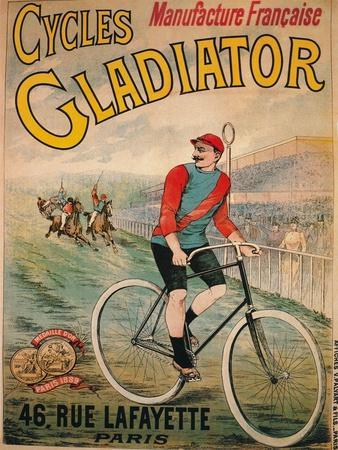 Advertisement for Cycles Gladiator bicycles, c1900-Unknown-Framed Giclee Print