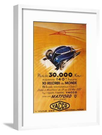 Advertisement for Yacco motor oil, c1937-Unknown-Framed Giclee Print