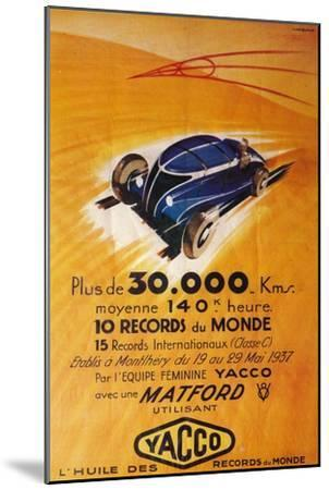 Advertisement for Yacco motor oil, c1937-Unknown-Mounted Giclee Print