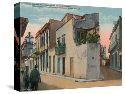 Calle Cuarteles, typical street scene in Old Havana, Cuba, c1920-Unknown-Stretched Canvas Print