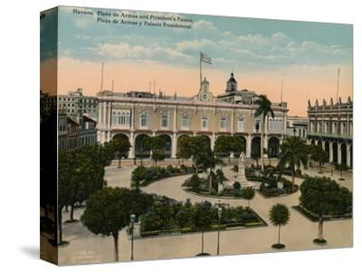 Plaza de Armas and Presidential Palace, Havana, Cuba, c1920-Unknown-Stretched Canvas Print