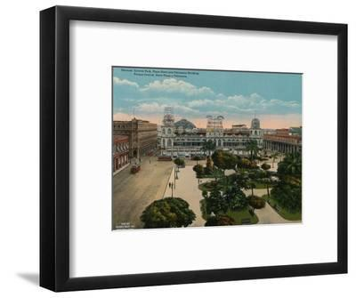 Central Park, Plaza Hotel and Politeama Building, Havana, Cuba, c1920-Unknown-Framed Photographic Print