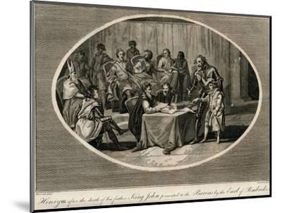 Henry III presented to the Barons by the Earl of Pembroke, 1216 (1793)-Unknown-Mounted Giclee Print