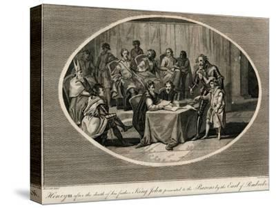 Henry III presented to the Barons by the Earl of Pembroke, 1216 (1793)-Unknown-Stretched Canvas Print