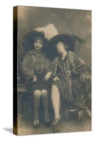 A studio photograph of two ladies, c1910-Unknown-Stretched Canvas Print