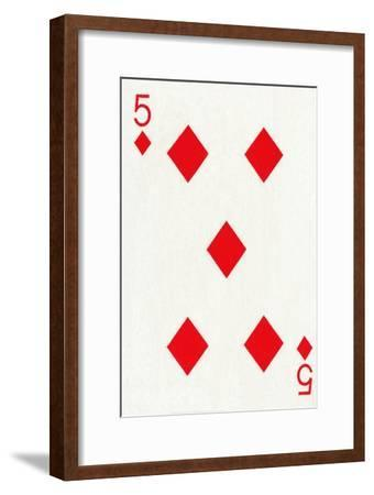5 of Diamonds from a deck of Goodall & Son Ltd. playing cards, c1940-Unknown-Framed Giclee Print
