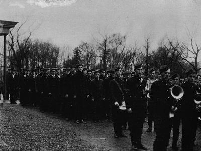 'The Newfoundland Naval Reserve parading before the Governor at St. John's', c1902-Unknown-Framed Photographic Print