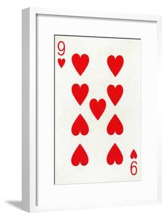 9 of Hearts from a deck of Goodall & Son Ltd. playing cards, c1940-Unknown-Framed Giclee Print