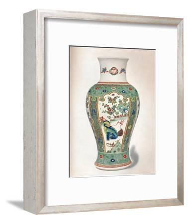 Famille Verte Vase, with four upright panels painted with rocks and flowering plants-Unknown-Framed Giclee Print