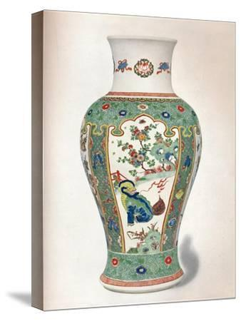Famille Verte Vase, with four upright panels painted with rocks and flowering plants-Unknown-Stretched Canvas Print