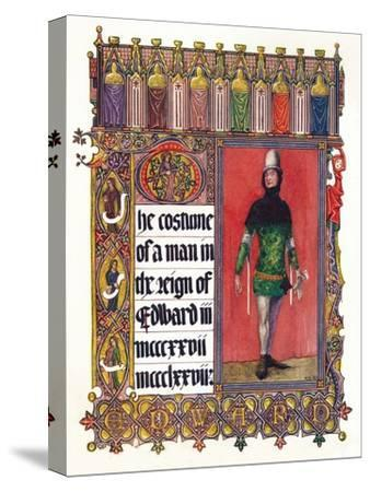'The Costume of a man in the reign of Edward III', c1353-Unknown-Stretched Canvas Print