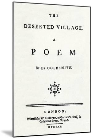 'The Deserted Village, A Poem', c1770-Unknown-Mounted Giclee Print